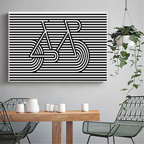 sanzangtang Nordic poster zwart en wit fiets lijn voor woonkamer decoratie schilderij wandschilderij popart canvas schilderij modern eenvoudig frameloos