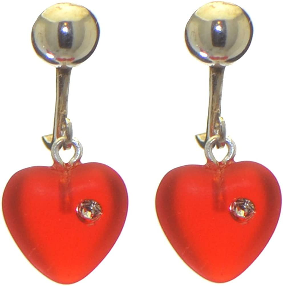 CORAZON red pressed glass heart with inset crystal clip on earrings