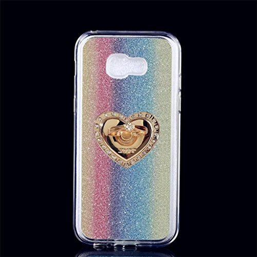 Samsung Galaxy A5 (2017) Hülle, MUTOUREN Samsung Galaxy A5 (2017) Etui Hülle Tasche Schutzhülle TPU Silikon Case Cover Bling Glitzer Bunt Bumper mit Ring und Anti-Scratch Löschen Back Bumper