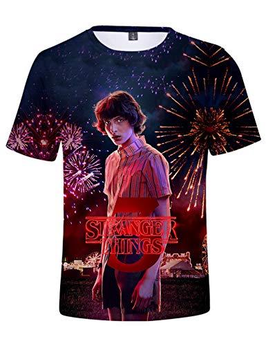 Camiseta Stranger Things Niño, Camiseta Stranger Things Mujer Unisex Impresión 3D Manga Corta T Shirt Hombre Abecedario Impresión T-Shirt Niña Camisa de Verano Regalo Camisetas y Tops (D,XXS)
