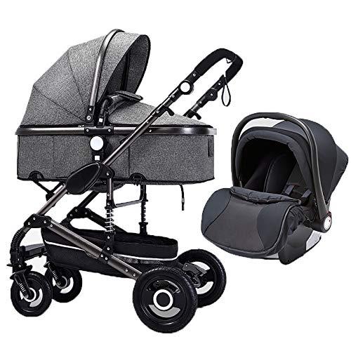 QINJIE Cochecito de bebé Two-One Multifuncional Multifuncional High-View Shock Absorbing Trolley,Gris
