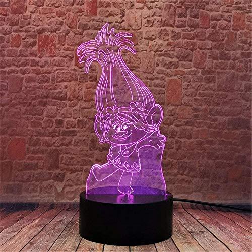 Poppy Trolls Lámpara de ilusión 3D, controlador de anime, luz nocturna, lámparas de escritorio, decoración de habitación de niños, regalo de cumpleaños para niños pequeños