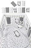 Baby 10Pcs Breathable Crib Bumper Pads Padded Crib Rail Cover Vertical Crib Liners Boys Girls, Cot Sleep...