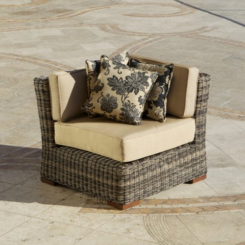 RST Brands OP-PE36C-LNK-WG Resort Collection 36-Inch Corner Section Rattan Patio Furniture, Weathered Gray
