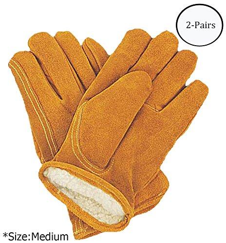 ToolUSA Men's Medium Size Brown Split Grain Pile Lined Gloves: GL-15503-Z02 : (Pack of 2 Pairs)