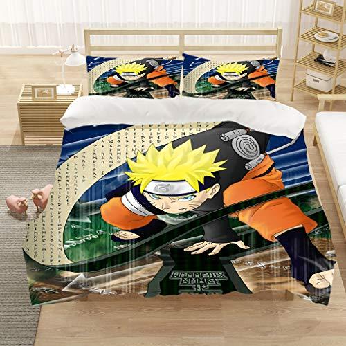 Naruto - Juego de ropa de cama para niños, cama individual, doble, King y funda de edredón de anime japonés, 2/3 piezas, juegos de cama para niños y niñas (A6, King 240 x 220 cm)