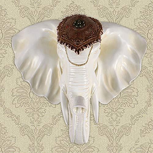 CUIRUI Colgando De Estilo Europeo Antiguo del Elefante Blanco Cabeza Colgante Creativo Retro Resina Principal del Elefante Colgar De La Pared Decoración De La Pared Pared Tridimensional