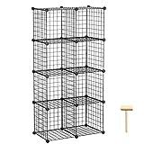 C&AHOME Wire Storage Cubes, Metal Grids Bookshelf, Modular Shelving Units, Stackable Bookcase, 8 Cubes Closet Organizer for Home, Office, Kids Room, 24.8' L x12.4 W x 48.4' H Black