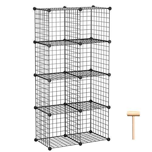 "C&AHOME Wire Cube Storage Organizer, 8-Cube Metal Grid Storage, Storage Bins Shelving, Modular Bookshelf, DIY Closet Cabinet Ideal for Living Room, Home, Office 24.8"" L x 12.4"" W x 48.4"" H Black"