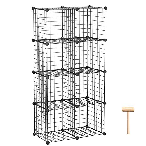 C&AHOME Wire Storage Cubes, Metal Grids Bookshelf, Modular Shelving Units, Stackable Bookcase, 8 Cubes Closet Organizer for Home, Office, Kids Room, 24.8