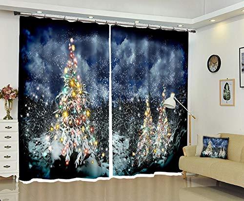 FAIEK Tenda Soggiorno Oscuranti Sipario Camera Da Letto Ridurre Rumore, Tenda Per Finestre Decorativa Moderna 140(W) X245(H) Cm 2*Panel,Albero Di Natale Nero