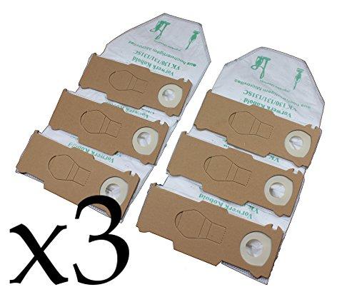 Vorratspackung 3x6 Staubsaugerbeutel Premium Vlies geeignet für Vorwerk Kobold 130, 131 und 131sc