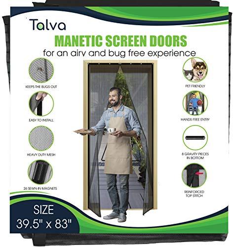 """Magnetic Screen Door by Talva - Mesh Heavy Duty - Fits Doors up to 38"""" x 82"""" - Hands Free, Kid Friendly - Screen Door with Magnets, Self Sealing Net, Hook & Loop (Screen Size: 39.5"""" X 83"""")"""