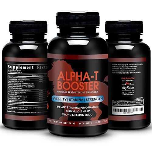 Alpha-T Testosterone Booster - Naturally Increase Testo-Levels, Athletic Performance, Vitality & Energy Male Enhancement - Tribulus, Fenugreek, Tongkat Ali, Enzymatic Blend - 90 Veggie Caps
