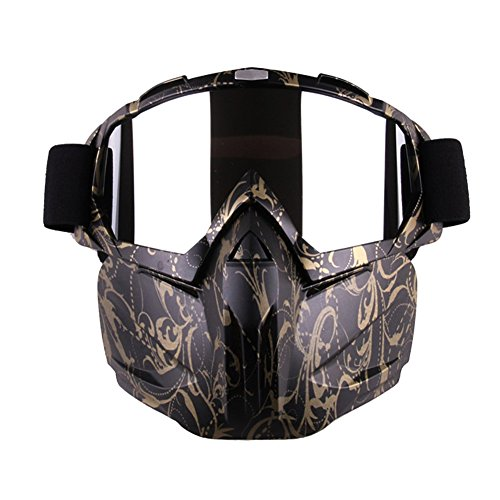 Freehawk Motorcycle Goggle Mask - Tactical Glasses with Detachable Mask for Airsoft/CS/Paintball/Skiing/Riding/Snowmobile/Cycling/Halloween/Costume Ball (Golden Patterm)