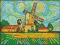 DIYデジタル油絵数字額縁マルチカラー風車センチ装飾画壁画 40×50cm