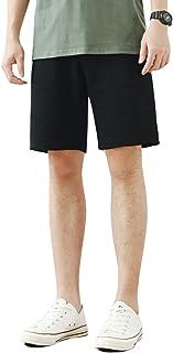 (エイエムエッチ)AMH ショートパンツ ハーフパンツ メンズ 綿100% 部屋着 5分丈 無地 カジュアル 大きいサイズ ゆったり (M, 黒色)