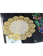 Kuber Industries Floral Design Virgin Viny Soft Fabric 6 Pieces Dining Table Round Placemat Set (Gold) - CTKTC045907