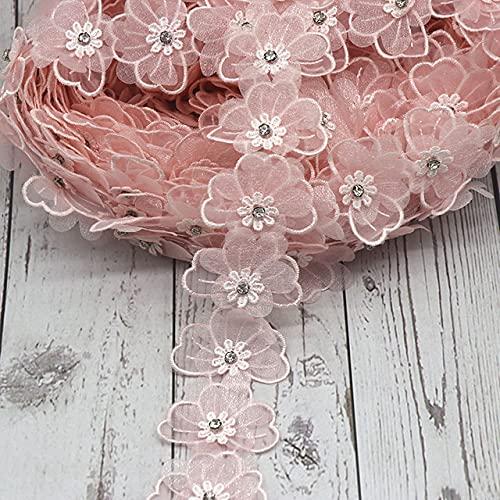 H692 Perla Flor Organza Encaje Trim Recortes de tejer Boda Encaje Bordado DIY Patchwork Cinta Suministros de costura Craft-no4 Rosa claro