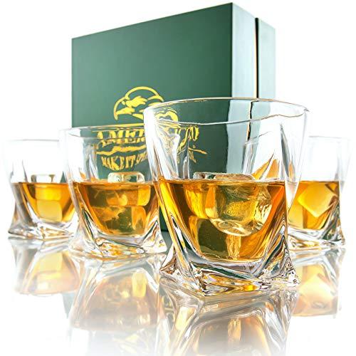 Amerigo Premium Whisky Gläser 4-teiliges Set Geschenkbox - Twist Whisky Gläser für Scotch, Bourbon & altmodische Cocktails (340ml) - Whisky-Geschenk für Männer - Vatertagsgeschenk - Bar-Set - 11