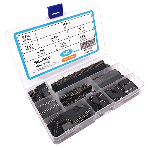 Seloky 143Pcs 2.54mm Straight Single Row PCB Board Female Pin Header Socket Connector Strip Assortment Kit for Prototype Shield (4Pin 6Pin 8Pin 10Pin 12Pin 16Pin 20Pin 40Pin)