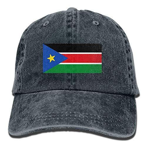 Ahdyr Gorra de béisbol Unisex Sombrero de Mezclilla Bandera de Sudán del Sur Gorra de Caza con Snapback Ajustable-Azul Marino