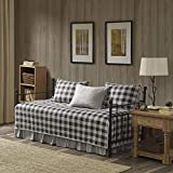 Woolrich Cotton Daybed Cover Set-Double Sided Quilting Rustic Lodge Cabin Plaid Design All Season Bedding with Bedskirt, Matching Shams, Decorative Pillow, 75'x39', Buffalo Check, Grey