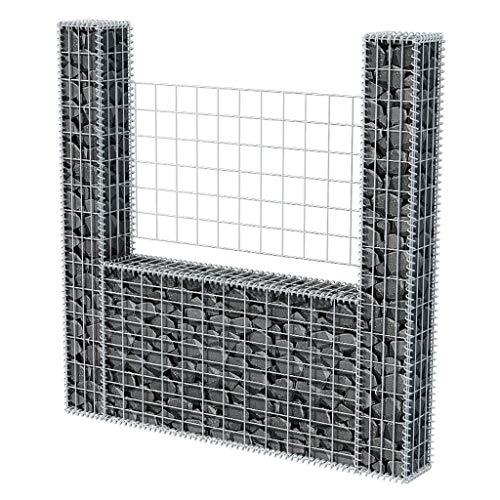 Festnight Gabion Basket U-Shape Galvanised Steel Planter Fencing Wire Patio Stone Wire Garden Outdoor Landscape Fence Walls Panels 63 x 7.9 x 59.1 Inches (L x W x H)
