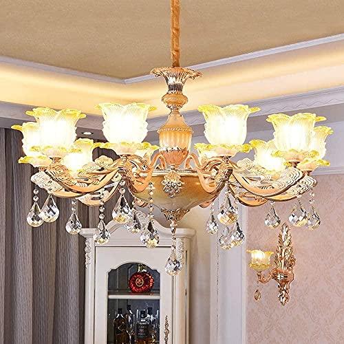 Tallada a mano de estilo europeo lámpara de techo de cristal de lujo, creativo y de moda sala de estar Hotel hogar LED lámpara luz cálida