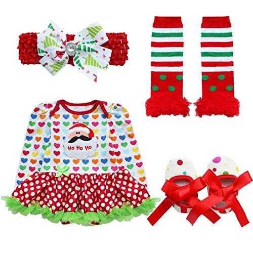 iEFiEL 4tlg Baby Kleidung Set Mädchen Bekleidungsset Kleid Tütü Bodys Strampler Stirnband Beinwärmer Schuhe Weihnachtsmann Herzform 6-9 Monate