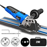 Mini Circular Saw Variable Speed, PROSTORMER 3-3/8' Compact Circular Saw with 2 x15' Guide Rails, Mini Plunge Cut Track Saw with 3 Blades for Cutting Wood, Soft Metal, Tile and Plastic