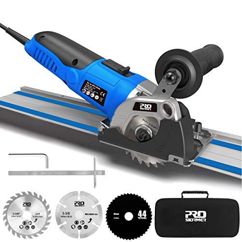 Mini Circular Saw Variable Speed, PROSTORMER 3-3/8' Compact Circular Saw with 2 x15' Guide Rails, Plunge Cut Track Saw with 3 Blades for Cutting Wood, Soft Metal, Tile and Plastic