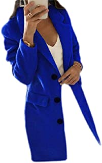 Macondoo Women Slim Single Breasted Overcoat Wool Blend Pea Coat