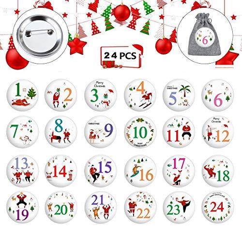 HIQE-FL Calendario de Adviento,Calendrier de l'avent,Calendario de Navidad, Numeros Navidad,Manualidades de Navidad,Navidad Decoración,Broches Navidad(24pcs) (A)