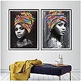 Graffiti fille africaine affiche toile Art imprime, aquarelle femme africaine Portrait Art peinture mur photos Home Room Decor -50x70cmx2 pcs (sans cadre)