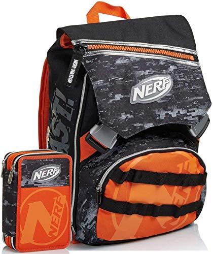SEVEN SPA Schoolpack - Mochila escolar Nerf Nation extensible negro y naranja + estuche triple