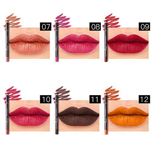 Luotuo Matte Lipstick 6 Set,Crayon à lèvres hydrofuge couleurs Waterproof Lipliner Crayon À Long Durable Étanche Rouge Lèvres Ensemble Hydratant Stylo Maquillage Cosmétique