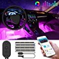 MINGER Unifilar Car LED Strip Light, 4pcs 48 LED APP Controller Car Interior Lights, Waterproof Multicolor Music Under Dash Lighting Kits for iPhone Android Smart Phone, Car Charger Included, DC 12V
