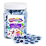 Colorations Jumbo Wiggly Googly Eyes, 300 Pieces in Jar, Storage, Black & White, 3/4 Inches Each, Arts & Crafts, for Kids