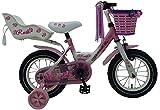 L&E 12 Zoll Fahrrad Rücktritt Stützräder Korb Kinderfahrrad Mädchen Pink