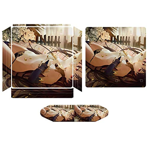 Anti-Scratch Sexy Anime Girl Decal Sticker Compatible PS4 Pro Slim Protector Playstation Console Skin with 2 Controller Joystick Skins Set