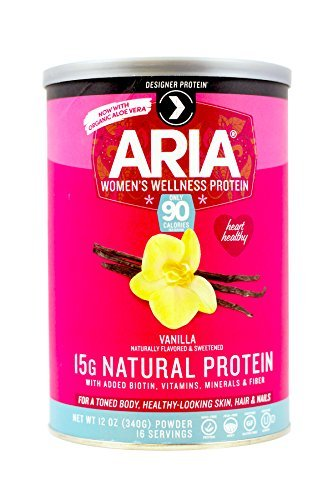 Designer Protein Aria Women's Protein Supplement, Vanilla, 12-Ounce Canisters (Pack of 2),  Made in the USA
