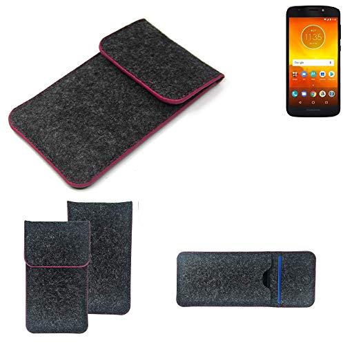 K-S-Trade Filz Schutz Hülle Für Motorola Moto E5 Dual SIM Schutzhülle Filztasche Pouch Tasche Hülle Sleeve Handyhülle Filzhülle Dunkelgrau Rosa Rand