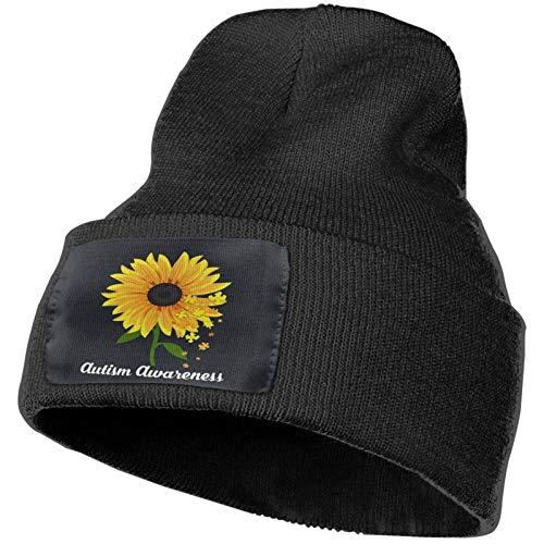 Sombrero de Punto Aitism Awareness Girasol Amarillo Suave Invierno Gorros de Punto Cálidos Gorros de Calavera para Hombres y Mujeres