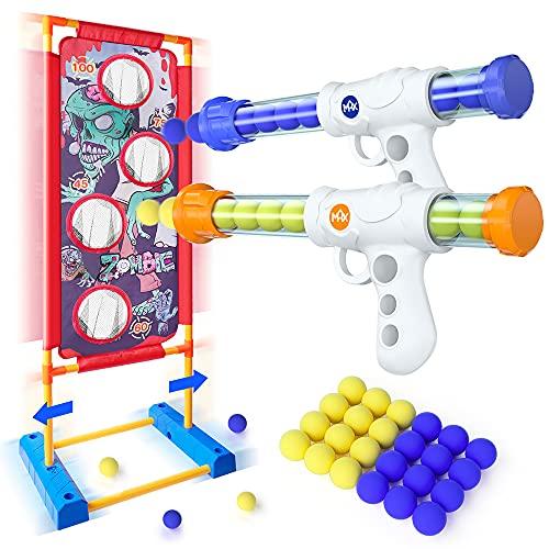 VATOS Bewegliche Schießen Zielscheibe Spielzeug für Kinder Aktivitätsspiel 2 Popper Air Guns mit 24 Schaumstoffbällen Indoor Outdoor Spielzeug ab 5 6 7 8 9 10+ Jahre Jungen Mädchen Rollenspiele