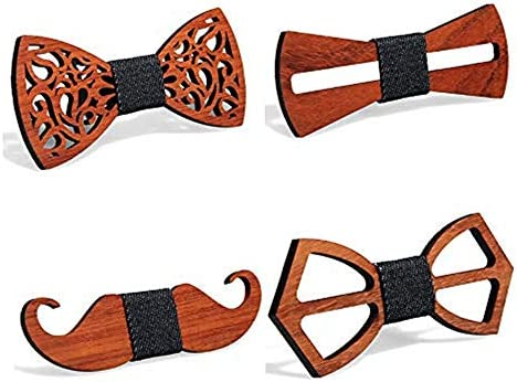 4 Pieces Wooden Bow Tie ORNOOU Handmade Customized Solid Wood Bow Tie Creative Wedding Wooden product image