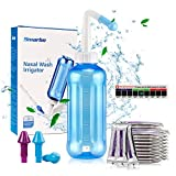 Neti Pot,Neti Pot Sinus Rinse 500ML Neti-Pot with 60 Nasal Wash Salt Packets and Sticker Thermometer Nose Cleaner Washing Bottle Cleaner Pressure Irrigation for Adult & Kid BPA Free