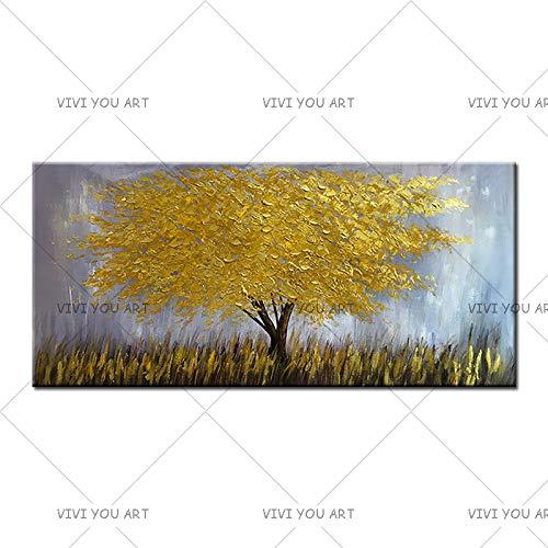 Handbeschilderd olieverfschilderij op doek, modern olieverfschilderij, handbeschilderd, grote boom met gouden bladeren op canvas, wanddecoratie, frameloze afbeeldingen 50x100cm
