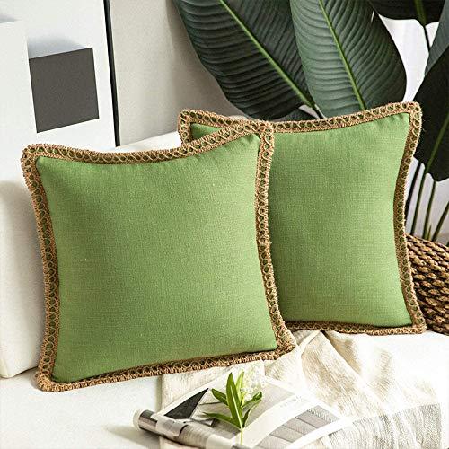 Whitejianpeak Juego de 2 fundas de cojín de lino, decorativas, cuadradas, para decoración del hogar, para sofá, dormitorio, silla, 45 x 45 cm, verde