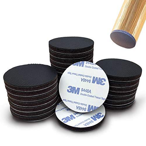 Uni-Fine 28 Pcs 3 Capas Versión Más Gruesa Diseño Almohadillas Antideslizantes para Sillas, 2 mm de Caucho + 4 mm de Fieltro de Alta Calidad Protectores de Piso Antideslizantes